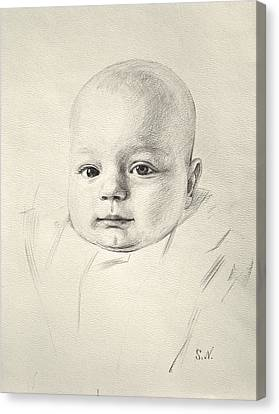 Canvas Print featuring the drawing My Son Peter 2008 by Svitozar Nenyuk
