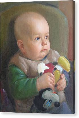 Canvas Print featuring the painting My Son by Svitozar Nenyuk