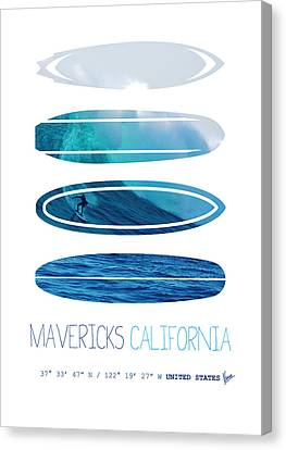 My Surfspots Poster-2-mavericks-california Canvas Print