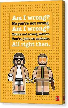 Johnson Canvas Print - My The Big Lebowski Lego Dialogue Poster by Chungkong Art