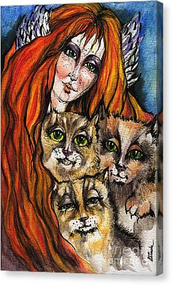 My Three Cats Canvas Print by Angel  Tarantella