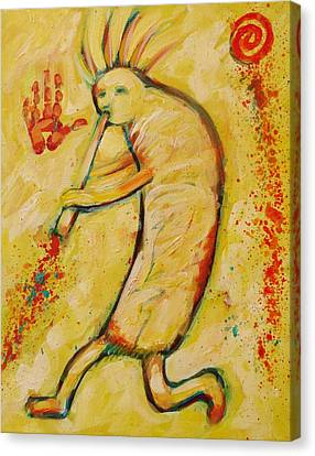 My Yellow Kokopelli Canvas Print by Carol Suzanne Niebuhr