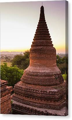 Myanmar Bagan Dawn Over The Plains Canvas Print by Inger Hogstrom
