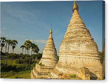 Myanmar Bagan Minochantha Stupa Group Canvas Print by Inger Hogstrom