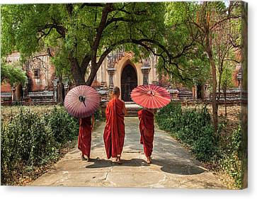 Myanmar, Bagan Novice Monks In Front Canvas Print by Jaynes Gallery
