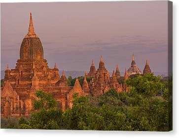 Myanmar Bagan Temples Of Bagan Canvas Print by Inger Hogstrom