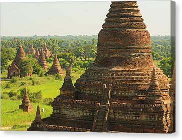 Myanmar Bagan The Plain Of Bagan Canvas Print by Inger Hogstrom
