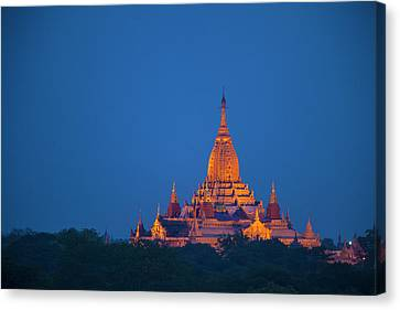 Myanmar, Bagan Twilight On Ananda Canvas Print by Jaynes Gallery