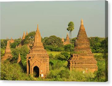 Myanmar Bagan View Of The Temples Canvas Print by Inger Hogstrom