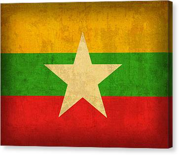 Myanmar Burma Flag Vintage Distressed Finish Canvas Print by Design Turnpike