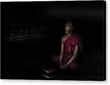 Sacred Canvas Print - Myanmar - Meditation by Michael Jurek