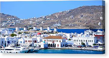 Mykonos Port Canvas Print by Corinne Rhode