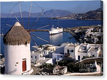Windmills Canvas Print - Old Port In Mykonos by George Atsametakis