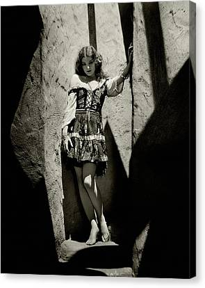Myrna Loy In A Cave Canvas Print by Nickolas Muray