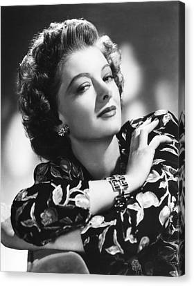 1940s Hairstyles Canvas Print - Myrna Loy, Mgm Portrait, 1940s by Everett