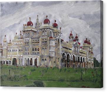Canvas Print featuring the painting Mysore Palace by Vikram Singh