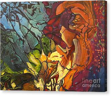 Canvas Print featuring the painting Mysterious Abyss by AnnE Dentler