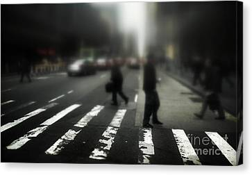 Crosswalk Canvas Print - Mysterious Business Men In New York City Crosswalk by Amy Cicconi