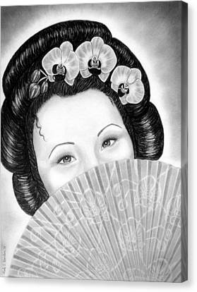 Mysterious - Geisha Girl With Orchids And Fan Canvas Print by Nicole I Hamilton