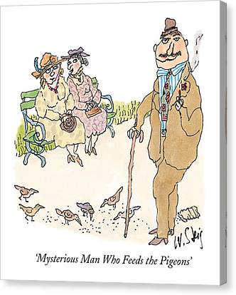 Park Benches Canvas Print - 'mysterious Man Who Feeds The Pigeons' by William Steig