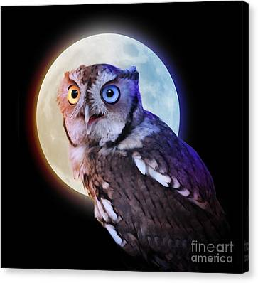 Mysterious Owl Animal At Night With Full Moon Canvas Print by Angela Waye