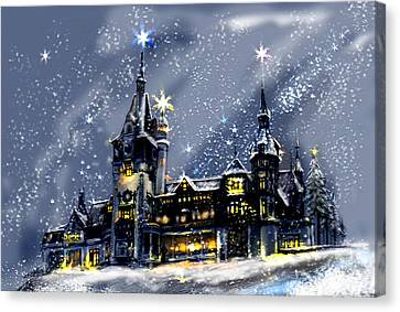 Mystery Castle In The Snow Canvas Print by April Lily