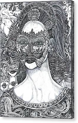 Canvas Print featuring the mixed media Mystery Girl by Giovanni Caputo