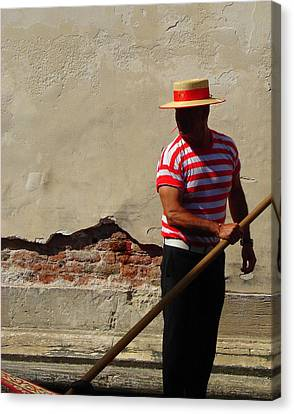 Canvas Print featuring the photograph Mystery Gondolier by Ramona Johnston