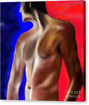 Canvas Print featuring the painting Mystery Of A Man by Lori  Lovetere