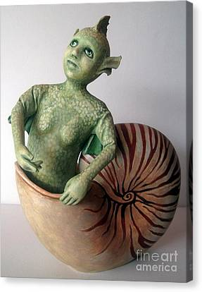 Mystery Of The Nautilus - Figurative Sculpture Canvas Print by Linda Apple