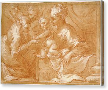 Mystic Marriage Of Saint Catherine Bartolomeo Biscaino Canvas Print by Litz Collection