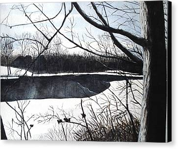 Mystic River - Winter Remnants Canvas Print
