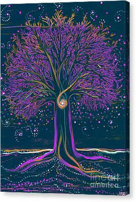 Mystic Spiral Tree 1 Purple Canvas Print by First Star Art