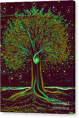 Mystic Spiral Tree  Green By Jrr Canvas Print by First Star Art