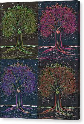 Mystic Spiral Tree X 4 By Jrr Canvas Print by First Star Art