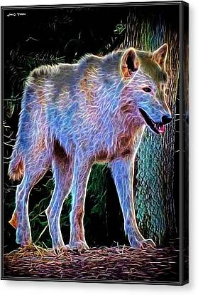 Growling Canvas Print - Mystic Wolf by Jon Volden