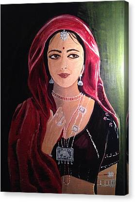 Canvas Print featuring the painting Mystic Woman by Brindha Naveen