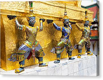 Mythical Figures In Bangkok Canvas Print by David Smith