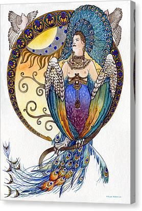 Mythological Bird-woman Gamayun - Elena Yakubovich Canvas Print by Elena Yakubovich
