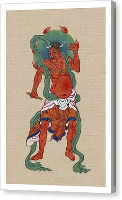 Religious Icon Canvas Print - Mythological Buddhist Or Hindu Figure Circa 1878 by Aged Pixel