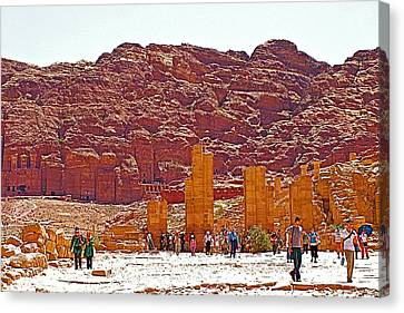 Nabatean And Greek And Roman Excavations In Petra-jordan  Canvas Print by Ruth Hager