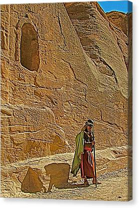 Nabatean By One Of Many Niches In Petra-jordan Canvas Print by Ruth Hager