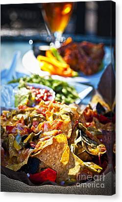 Nacho Plate And Appetizers Canvas Print by Elena Elisseeva