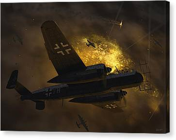 Fighter Canvas Print - Nachtjagd Over Berlin by Robert Perry