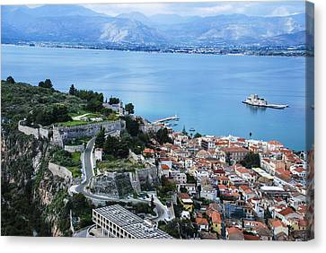 Nafplio And Argolic Gulf Canvas Print by David Waldo