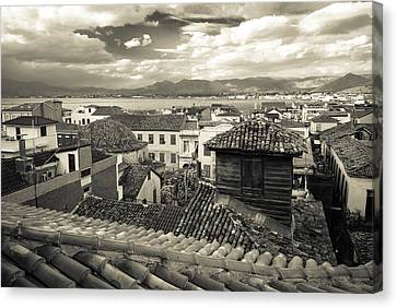 Byzantine Canvas Print - Nafplio Rooftops Sepia by David Waldo