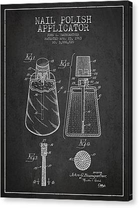 Nail Polish Applicator Patent From 1963 - Dark Canvas Print by Aged Pixel