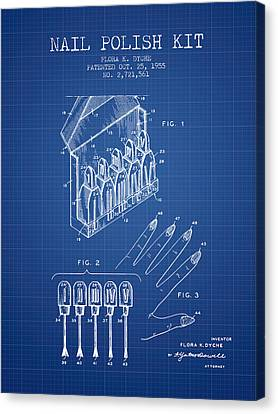 Nail Polish Kit Patent From 1955 - Blueprint Canvas Print by Aged Pixel