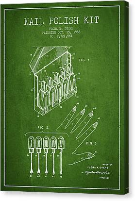 Nail Polish Kit Patent From 1955 - Green Canvas Print by Aged Pixel