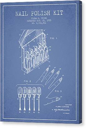 Nail Polish Kit Patent From 1955 - Light Blue Canvas Print by Aged Pixel